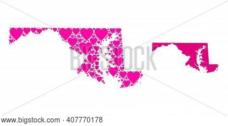Love Collage And Solid Map Of Maryland State. Mosaic Map Of Maryland State Is Composed With Pink Lov