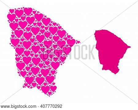 Love Mosaic And Solid Map Of Ceara State. Mosaic Map Of Ceara State Composed With Pink Lovely Hearts