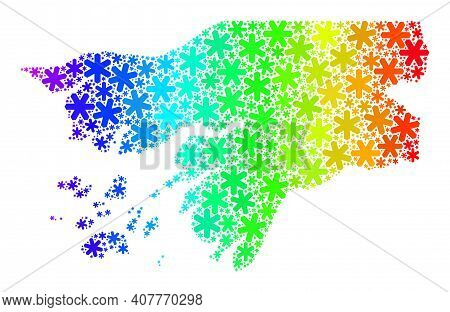 Spectrum Gradient Mosaic Of Guinea-bissau Map Designed For Winter Celebration. Guinea-bissau Map Mos