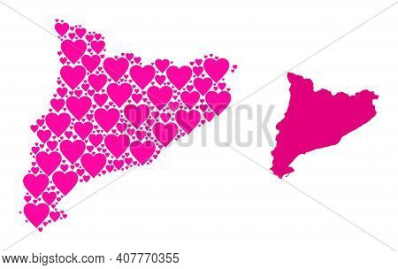 Love Collage And Solid Map Of Catalonia. Collage Map Of Catalonia Is Composed With Pink Lovely Heart