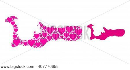 Love Collage And Solid Map Of Grand Cayman Island. Mosaic Map Of Grand Cayman Island Composed With P