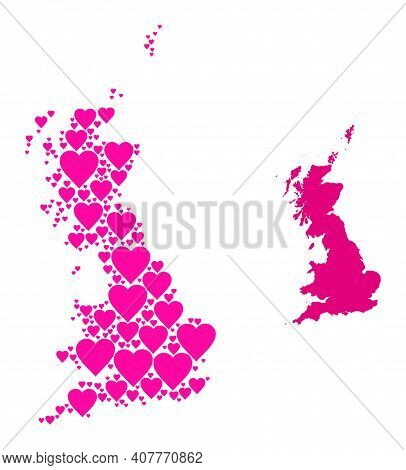 Love Collage And Solid Map Of Great Britain. Mosaic Map Of Great Britain Is Designed With Pink Lovel