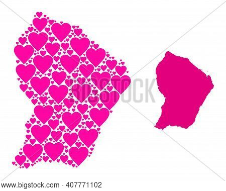Love Pattern And Solid Map Of French Guiana. Mosaic Map Of French Guiana Is Designed With Pink Lovel