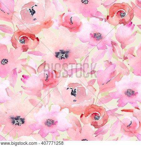 Seamless pattern with pink flowers and leaves on green background. Watercolor floral pattern, flower rose in pastel color, tileable for wallpaper, card or fabric.