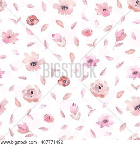 Seamless pattern with pink flowers and leaves on white background. Watercolor floral pattern, flower rose in pastel color, tileable for wallpaper, card or fabric.