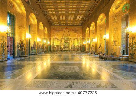 STOCKHOLM, SWEDEN - DECEMBER 23: Interior of Golden Hall of the Stockholm City on December 23, 2012 in Stockholm, Sweden. The Golden Hall is the venue for the dance after the Nobel Prize banquet.