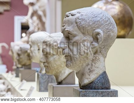Moscow, Russia - January 26, 2021: Sculptural portraits of ancient Romans, modern copies. The art of Ancient Rome. Museum of Fine Arts. A.S. Pushkin