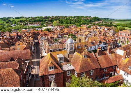 Aerial view of picturesque Rye town, a popular travel destination in East Sussex, England, UK, as seen from the Saint Mary parish church bell tower