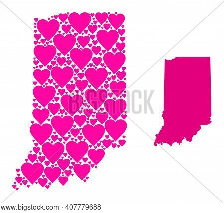 Love Collage And Solid Map Of Indiana State. Collage Map Of Indiana State Is Designed With Pink Love