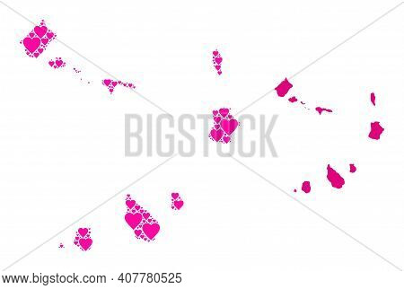 Love Collage And Solid Map Of Cape Verde Islands. Collage Map Of Cape Verde Islands Composed With Pi