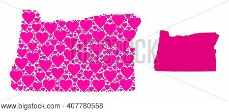 Love Mosaic And Solid Map Of Oregon State. Mosaic Map Of Oregon State Is Formed With Pink Lovely Hea