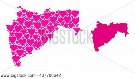 Love Pattern And Solid Map Of Maharashtra State. Collage Map Of Maharashtra State Is Designed With P