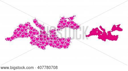 Love Mosaic And Solid Map Of Mediterranean Sea. Mosaic Map Of Mediterranean Sea Designed From Pink L