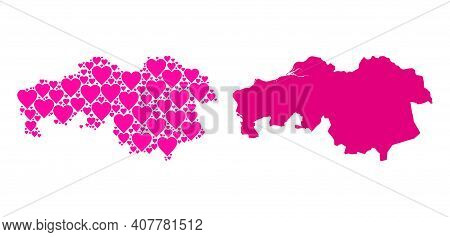 Love Collage And Solid Map Of North Brabant Province. Collage Map Of North Brabant Province Designed