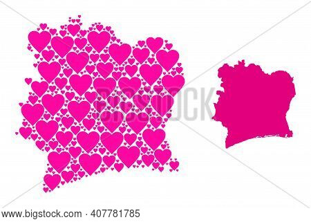 Love Collage And Solid Map Of Ivory Coast. Mosaic Map Of Ivory Coast Is Designed With Pink Valentine