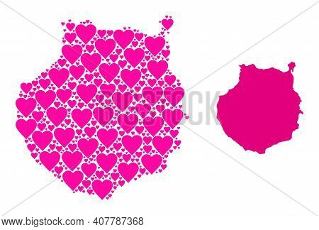 Love Pattern And Solid Map Of Gran Canaria. Mosaic Map Of Gran Canaria Is Formed With Pink Love Hear