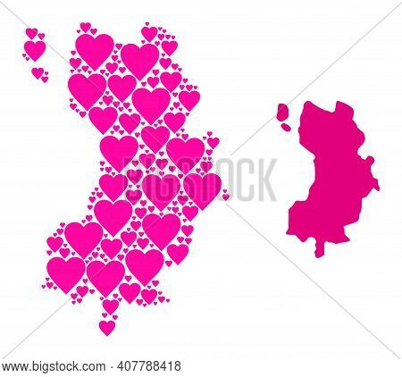 Love Mosaic And Solid Map Of Ko Tao. Mosaic Map Of Ko Tao Created With Pink Lovely Hearts. Vector Fl