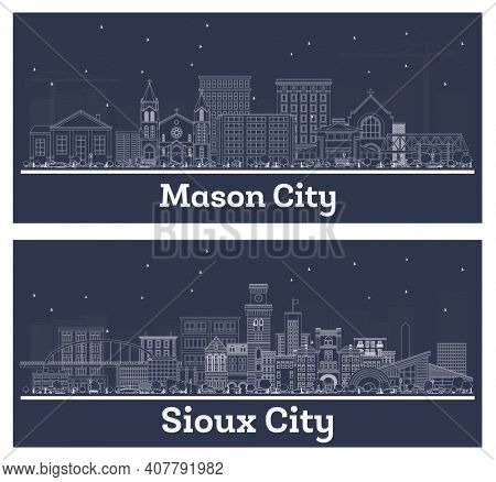 Outline Sioux City and Mason City Iowa Skyline Set with White Buildings.