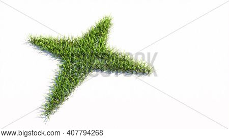 Concept or conceptual green summer lawn grass isolated on white background, sign of navigation compass. A 3d illustration metaphor for travel, adventure, exploration, journey, advancement and progress