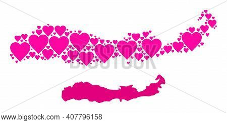 Love Collage And Solid Map Of Indonesia - Flores Island. Collage Map Of Indonesia - Flores Island Co