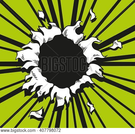 Comic book hole.  paper is torn through boom explosion. Circle hole in the middle on green background. Comics style cover template or flyer wallpaper