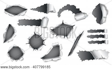 Collection of papers hole with gray paper on background. Realistic torn papers with ripped edges. Damage papers with folded sides
