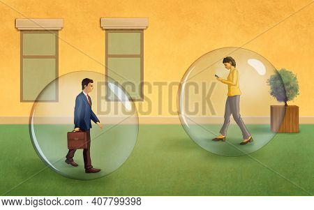Peoplecarrying on their daily activities protected by a big transparent bubble. Digital illustration.