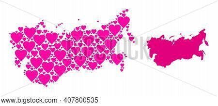Love Collage And Solid Map Of Ussr. Collage Map Of Ussr Composed From Pink Lovely Hearts. Vector Fla