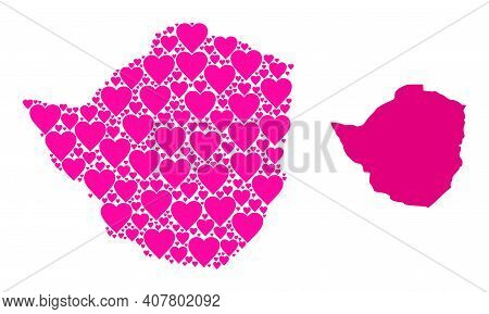Love Collage And Solid Map Of Zimbabwe. Collage Map Of Zimbabwe Is Designed With Pink Hearts. Vector