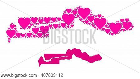 Love Mosaic And Solid Map Of The Gambia. Mosaic Map Of The Gambia Composed From Pink Lovely Hearts.