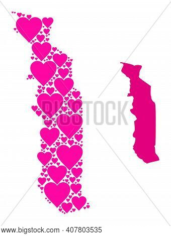 Love Pattern And Solid Map Of Togo. Collage Map Of Togo Created With Pink Hearts. Vector Flat Illust