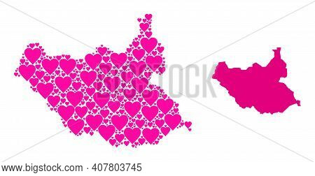 Love Pattern And Solid Map Of South Sudan. Collage Map Of South Sudan Is Composed With Pink Love Hea