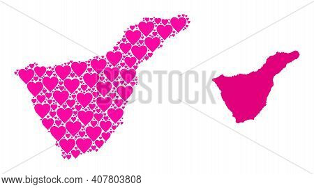 Love Collage And Solid Map Of Tenerife Island. Collage Map Of Tenerife Island Designed With Pink Val