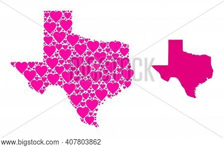 Love Collage And Solid Map Of Texas State. Collage Map Of Texas State Composed With Pink Lovely Hear