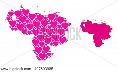 Love Collage And Solid Map Of Venezuela. Collage Map Of Venezuela Designed From Pink Love Hearts. Ve