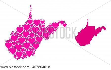 Love Collage And Solid Map Of West Virginia State. Collage Map Of West Virginia State Composed With