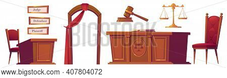 Courtroom Objects Set, Wooden Gavel, Desk With Scales And Chairs, Arch With Red Curtain, And Plates
