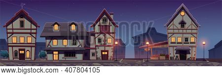 Medieval German Night Street With Half-timbered Houses. Traditional European Buildings In Old Town.