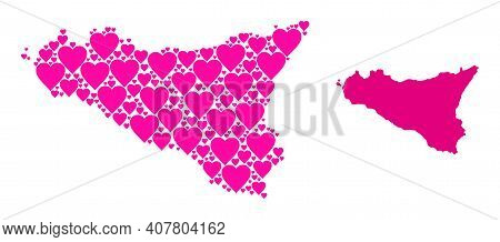 Love Pattern And Solid Map Of Sicilia Island. Mosaic Map Of Sicilia Island Is Designed With Pink Lov