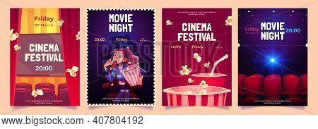 Cinema Festival, Movie Night Cartoon Flyers Set. Young Woman With Pop Corn Bucket Sitting In Dark Th