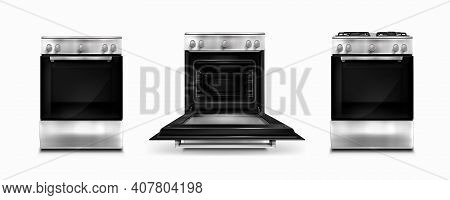Gas Stove And Induction Cooking Panel With Electric Oven With Open And Closed Door Isolated On White