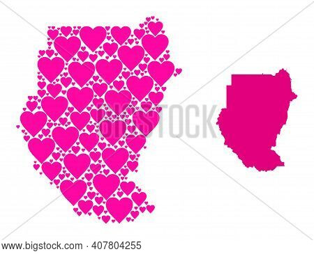 Love Pattern And Solid Map Of Sudan. Mosaic Map Of Sudan Formed With Pink Love Hearts. Vector Flat I