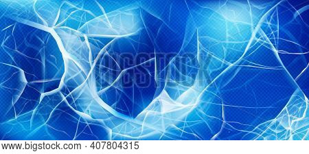 Cracked Ice Top View, Transparent Frozen Water Surface Texture, Abstract Blue Background With Random