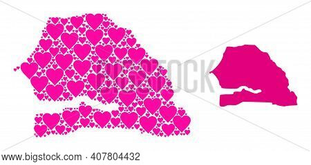 Love Collage And Solid Map Of Senegal. Mosaic Map Of Senegal Is Created With Pink Love Hearts. Vecto