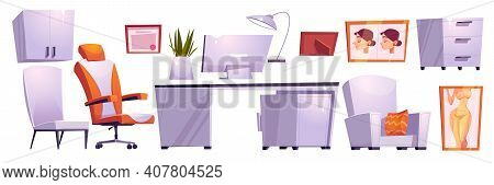 Plastic Surgeon Cabinet, Beauty Surgery Room In Hospital Or Clinic. Vector Cartoon Set Of Furniture