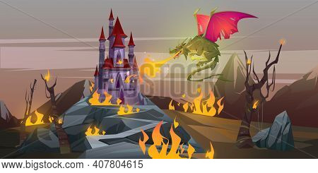 Fairy Tale Fire Breathing Dragon Attacks Magic Castle In Mountain Valley. Vector Cartoon Fantasy Ill