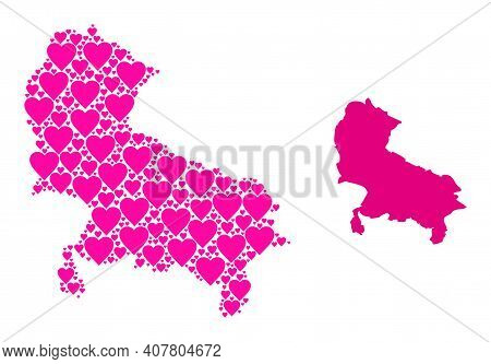 Love Pattern And Solid Map Of Uttar Pradesh State. Collage Map Of Uttar Pradesh State Is Designed Wi