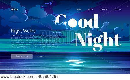 Night Walks Banner. Travel Tour Of Evening Walking On Ocean Beach. Vector Landing Page With Cartoon