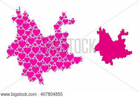 Love Collage And Solid Map Of Yunnan Province. Collage Map Of Yunnan Province Is Formed With Pink Lo