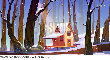 Wooden Stilt House In Winter Forest. Old Snow Swept Shack With Terrace Stand On Piles In Deep Wood W